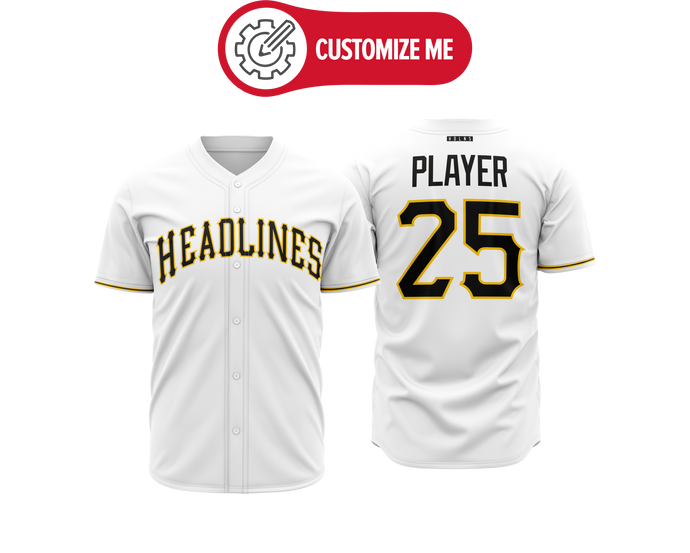 Headlines Custom Baseball Jersey MLB Pirates