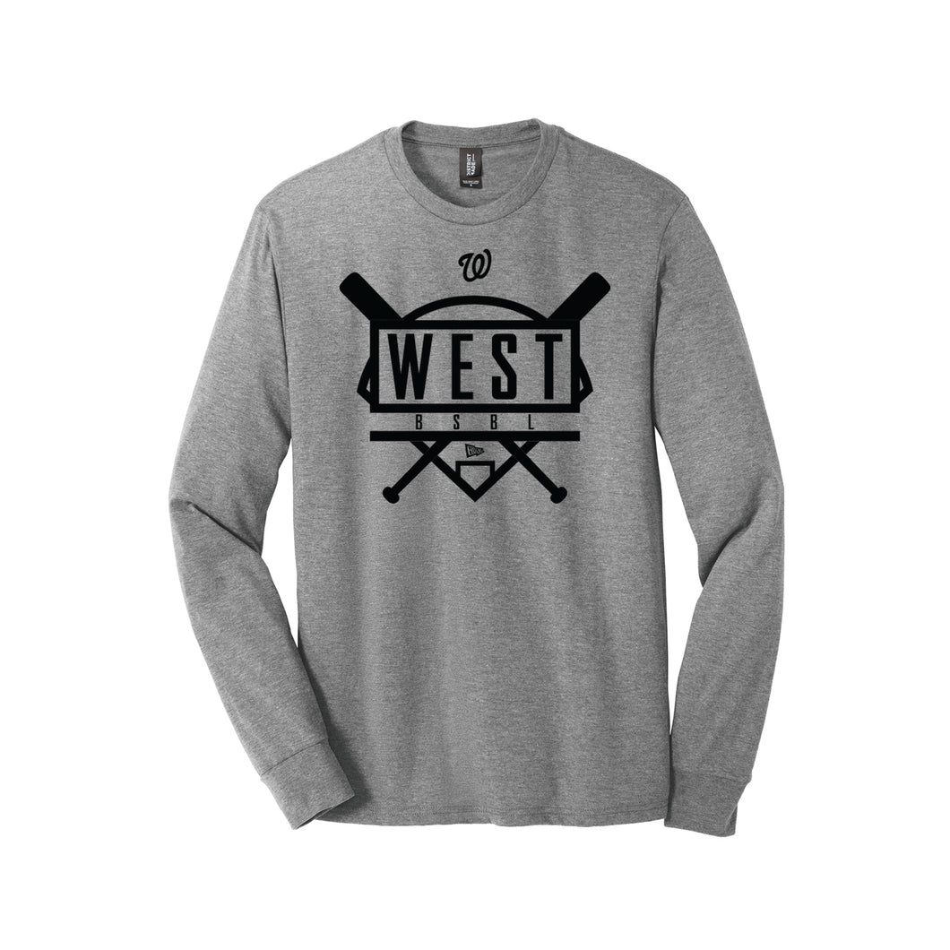 Lakota West Baseball - Triblend LS Tee (Grey Frost)