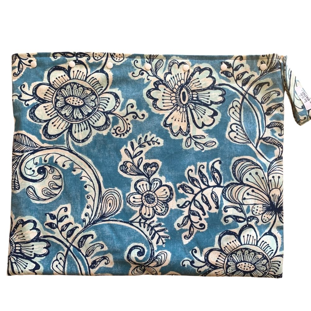 Extra Large Blue Flowers Wet Bag