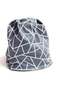 Grey Triangles Pony Tail Fleece Lined Hat
