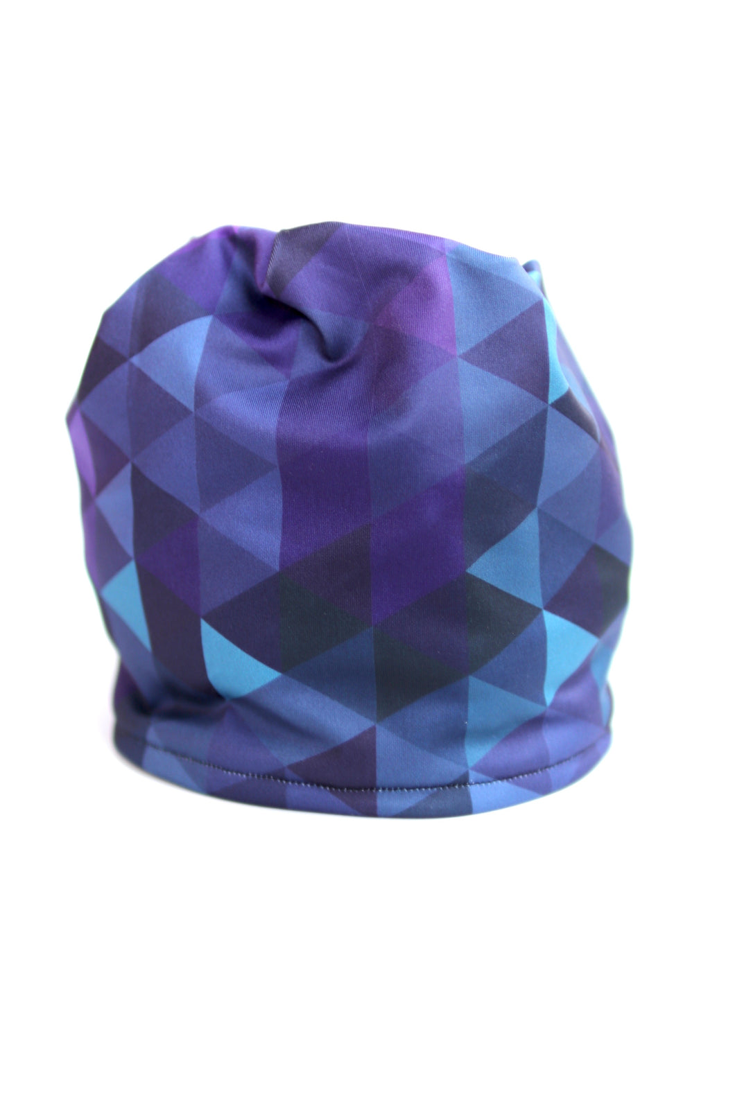 Purple Triangles Pony Tail Fleece Lined Hat