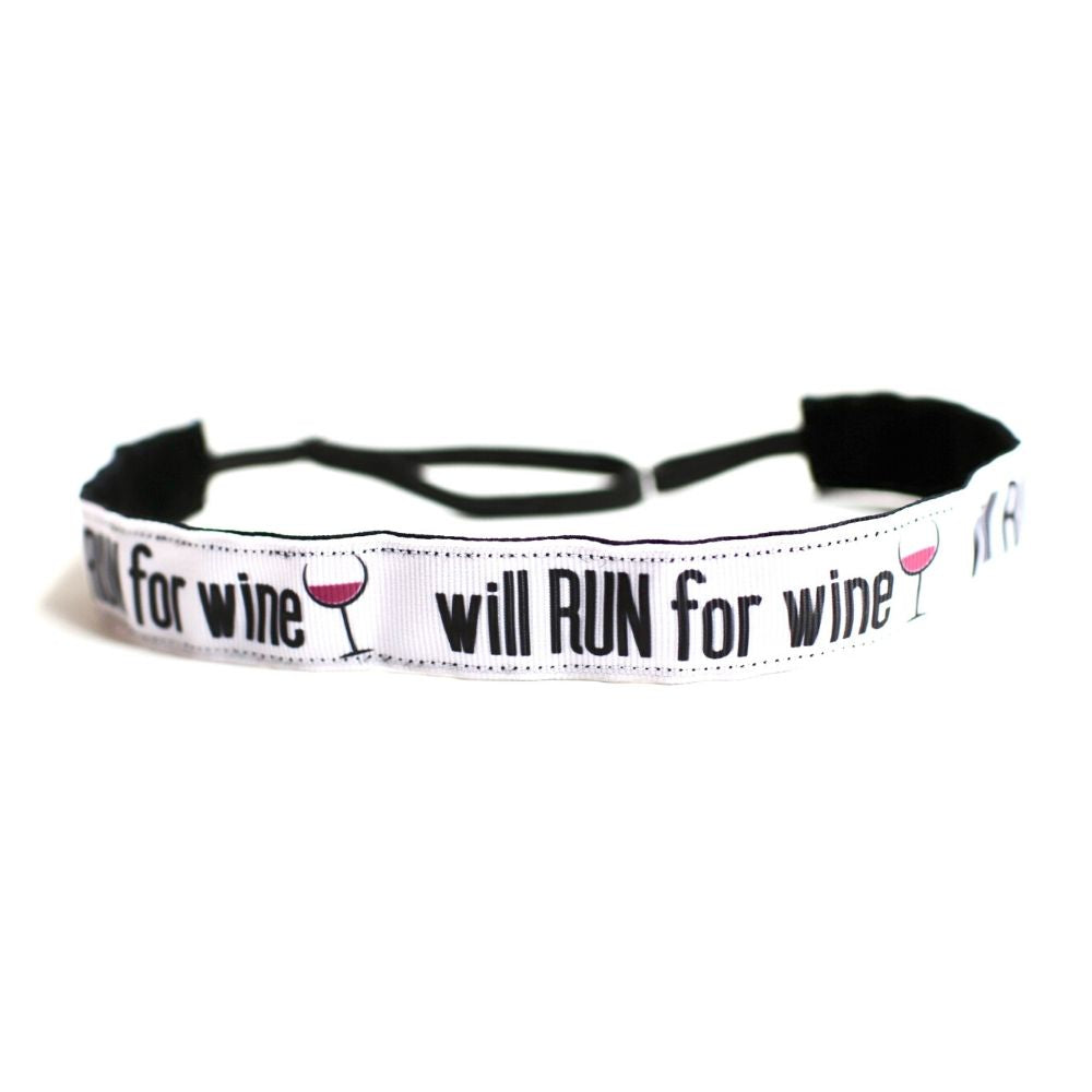 Will Run For Wine Non-Slip Headband