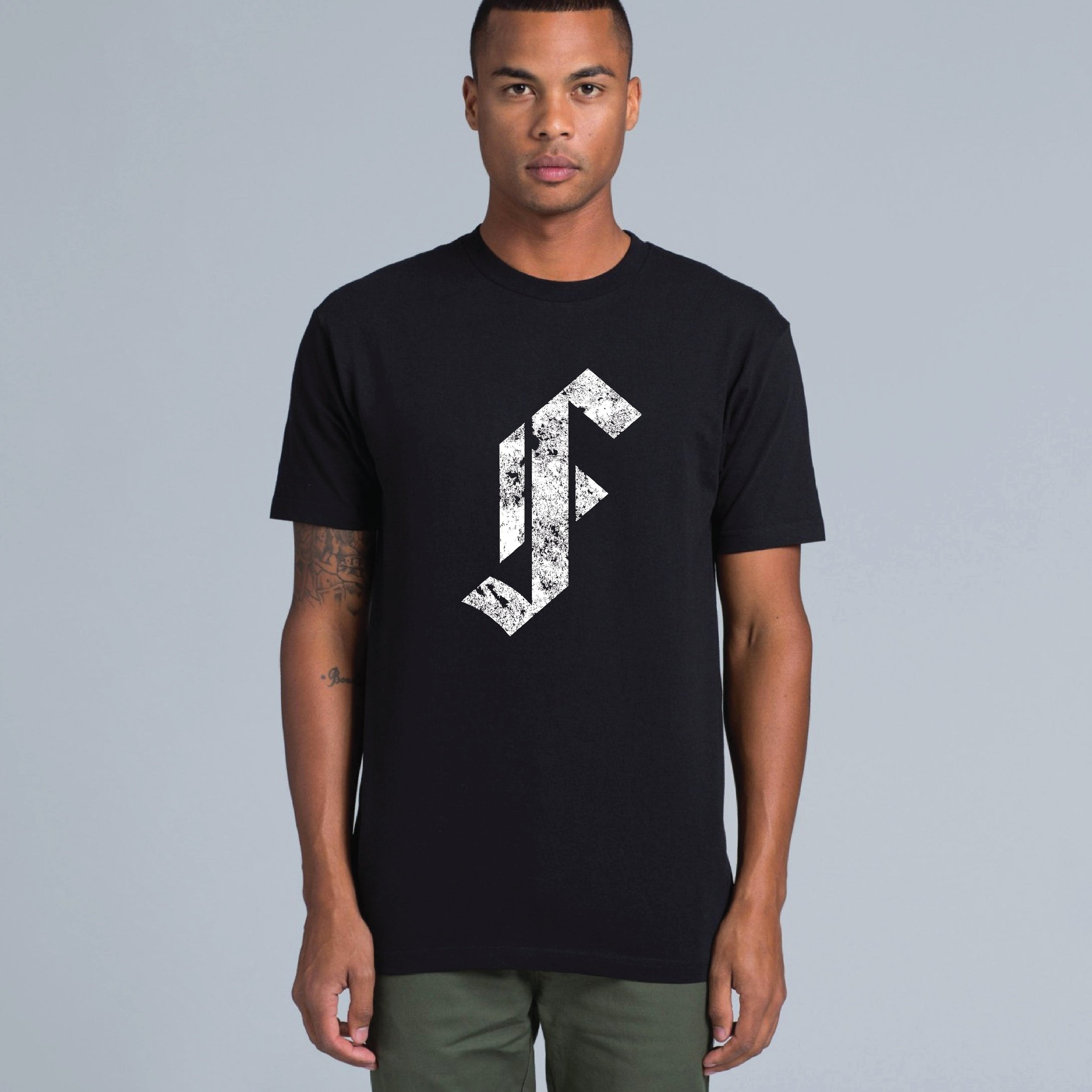 Framingham 'F' Tee Shirt White on Black - Male