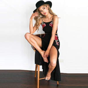Black Embroidery Two Pieces High Split Long Maxi Dress