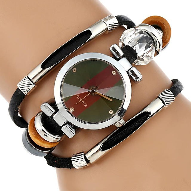 Leather Watch Women Triple Bracelet Wristwatch