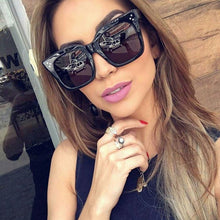Vintage Women Square Sunglasses Big Frame Acetate Gradient Eyeglasses