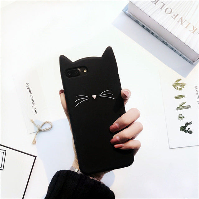 Glitter Cartoon Cute Kitty Cat 3D Silicon Phone Case for iPhone 7 7plus 6 6s 6plus 5 5s SE