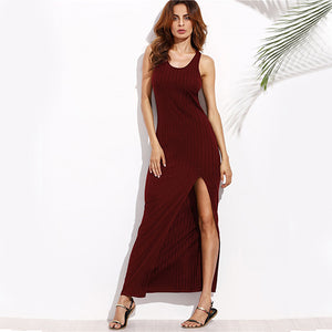 Knit Tank Dress Burgundy High Slit Maxi Dresses