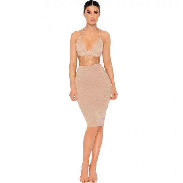 Sparkly Bandage Bodycon Dresse Two Piece Set