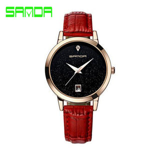 Dial Women Watch with Golden Leather Strap