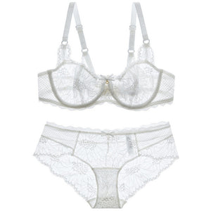 White Set Lace Transparent Bra Embroidery