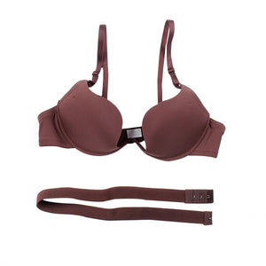 Sexy Solid Color Deep V Brassiere Push Up Padded Bra