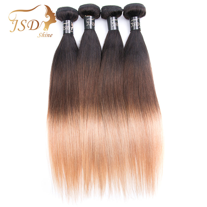 Ombre 4 Bundles 3 Tone Peruvian Straight Human Hair Weave Pre-Colored
