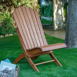 Outdoor Armless Hardwood Adirondack Chair with Brown Wood Stain
