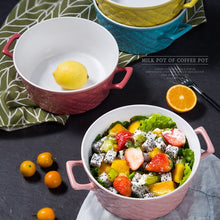 1700ML Large Ceramic Salad Bowl Microwave Safe Anti-scalding Handle