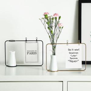 Iron Line Flower Pot Plant Vase Stand With Postcard Clip