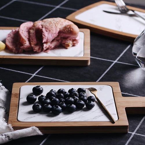 1pcs Bamboo Marble Serving Tray With Handle