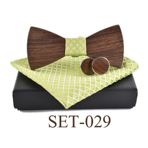 Natural Elements GQ Bow Tie Cuff Links Wooden Ties Set