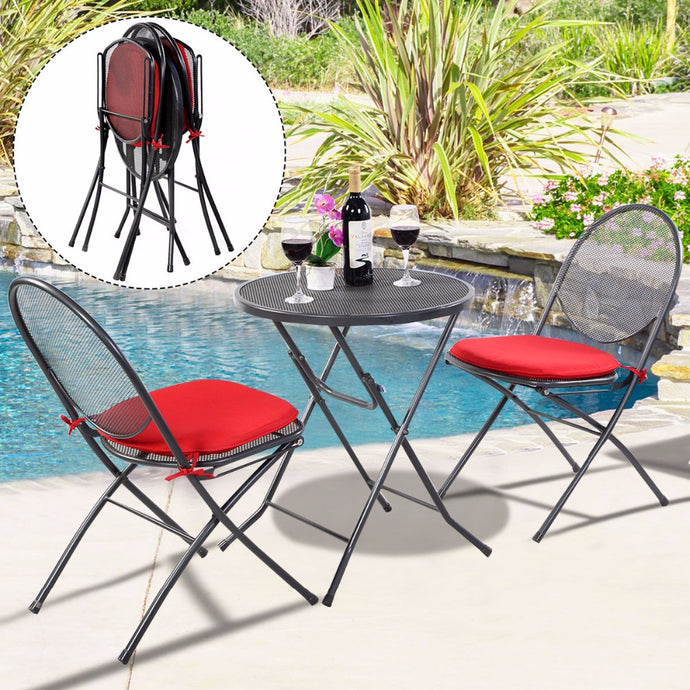 3 PCS Folding Steel Mesh Outdoor Patio Table Chair Garden Backyard Furniture Set