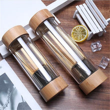 Travel Glass Water Bottle with Stainless Steel Tea Infuser Filter Double Wall Bamboo Lid