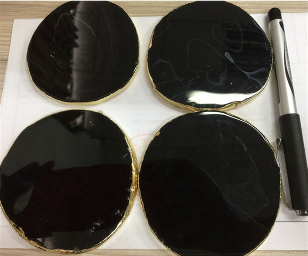 Natural Elements 3PCS Black Natural Glass Agate Slice Semi Precious Stone Coasters