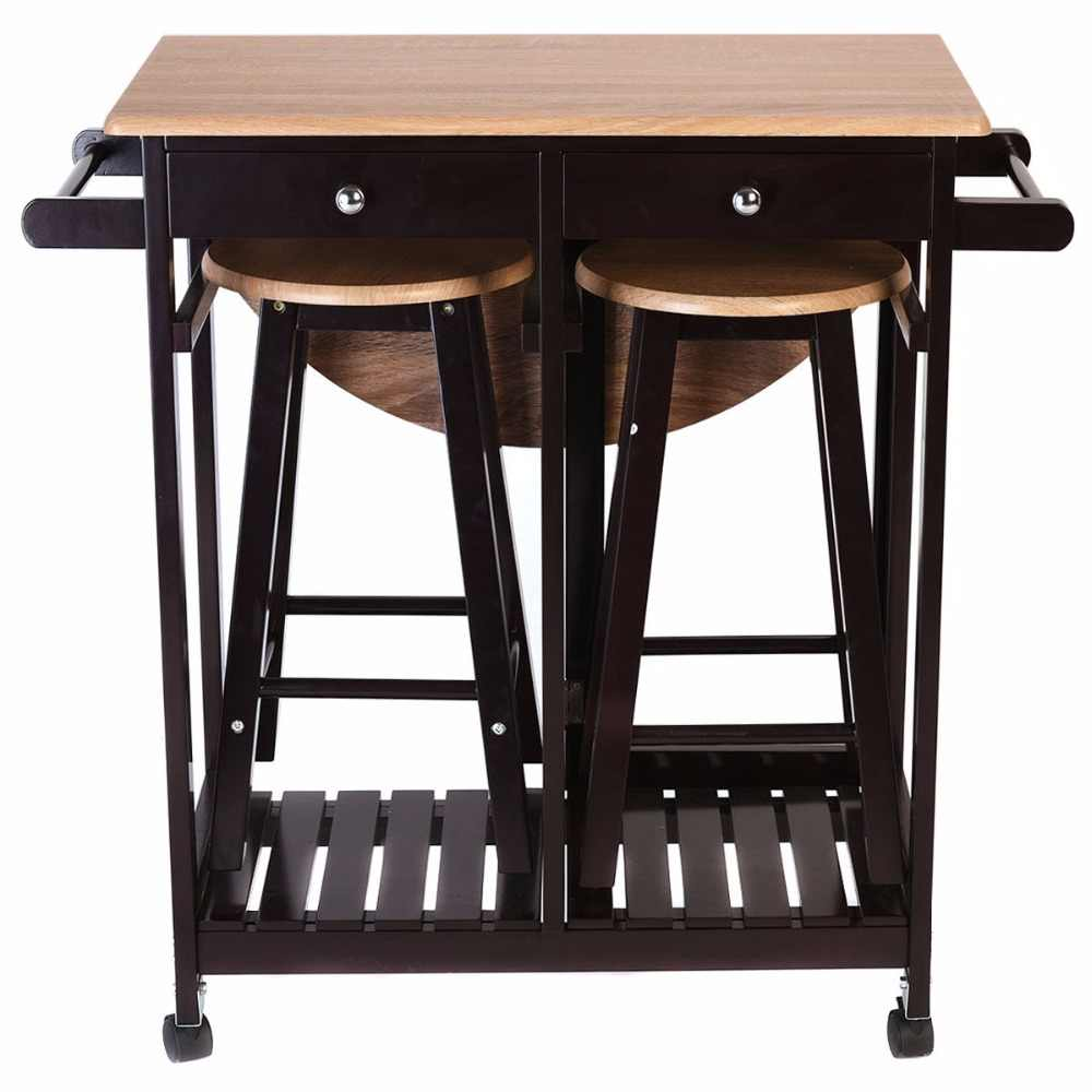 3PC Wood Kitchen Rolling Cart Set Dinning Drop Leaf Table w/ 2 Stools