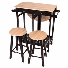 3Pc Wood Kitchen Rolling Cart Set Dinning Drop Leaf Table W/ 2 Stools Rolling Cart Table