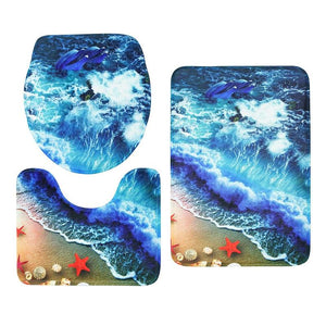 3pcs Set 3D Anti Slip Water Absorb Floor Carpet Bathroom Mat