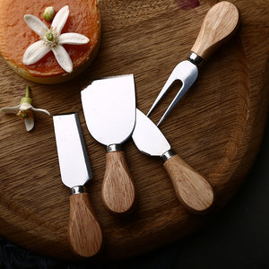 4Pc Oak Wood Handle Cheese Knives Kitchen Elements