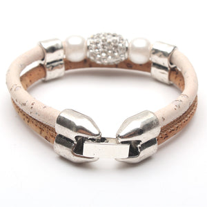 5pc Natural Elements Cork Wood Rhinestone Beads handmade Bracelets Gift Set