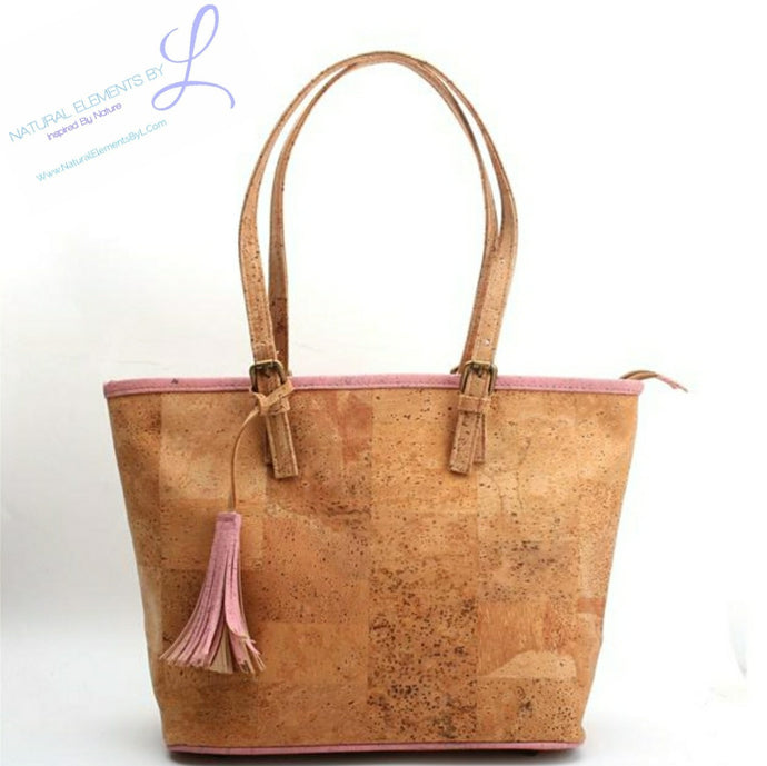 Terry Natural Elements Cork Handmade Luxury with Pink Tassel Totes Handbag