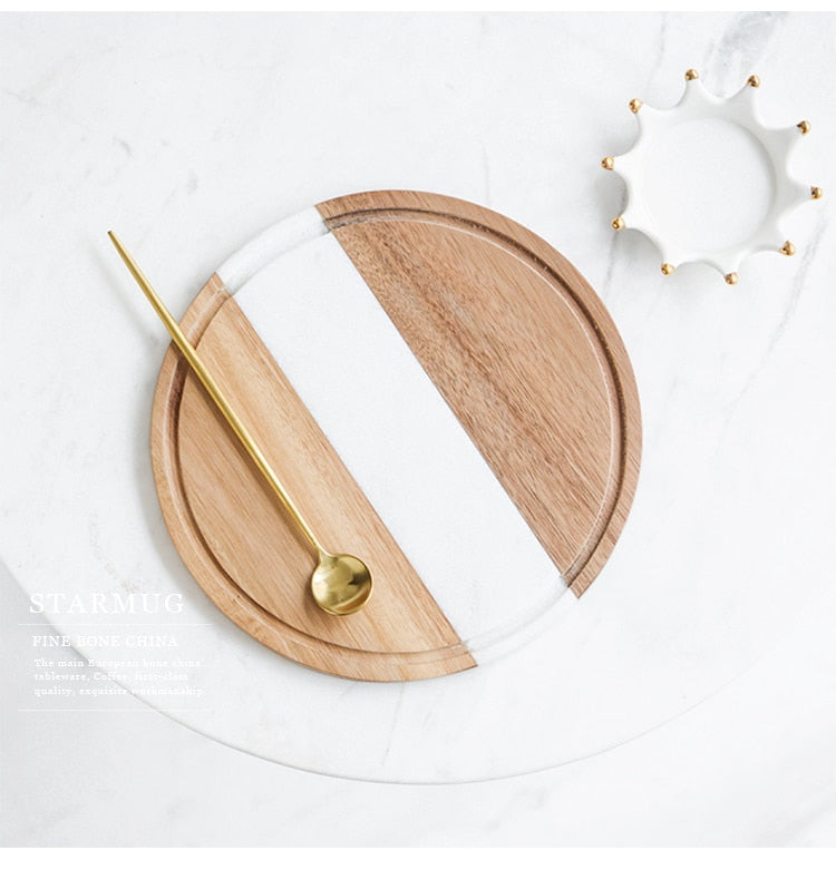 American Round Marble Wooden Cutting Board