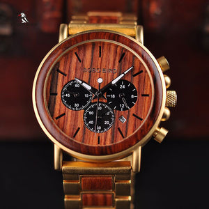 BOBO BIRD Men Date Display Luxury GQ Wristwatch Wooden and Metal Strap