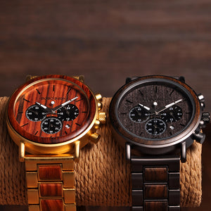 BOBO BIRD Men Watches Date Display Wood Watch Luxury Stylish Quartz Wristwatch