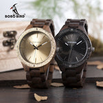 BOBO BIRD Mens Wood Wooden Band Luxury Metal Face  Watch in Wooden Box