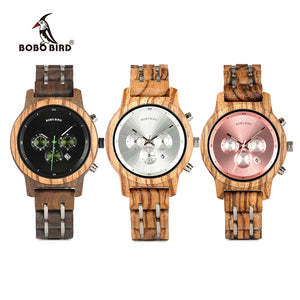 BOBO BIRD WP18 Luxury Wood Metal Strap Chronograph Date Quartz Watch