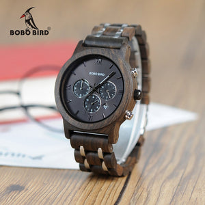 BOBO BIRD Wooden Metal Strap Chronograph Date Quartz Watches