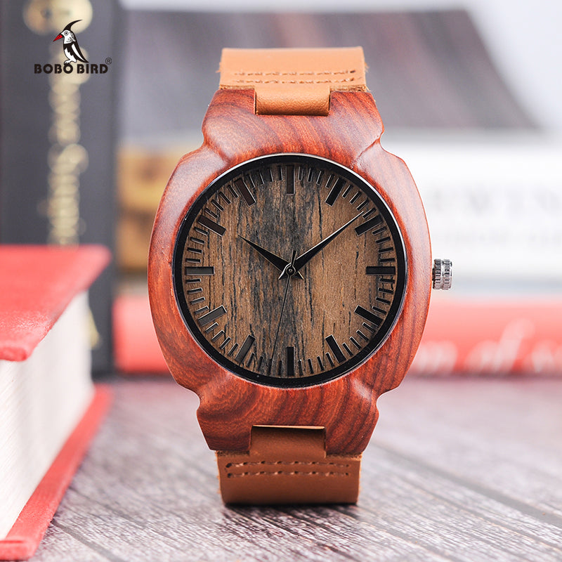 BOBO BIRD Wooden Watch Mens Timepiece Luxury Leather Strap