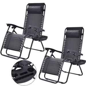 Black 2PC Zero Gravity Reclining Lounge Chairs Pillows