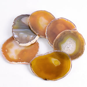 Natural Elements Big Semi Precious Yellow Agate Slice Coaster