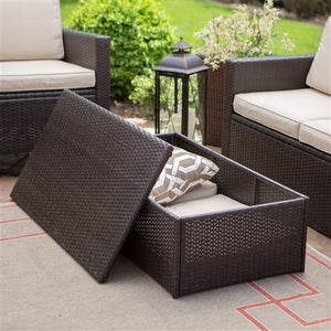 Outdoor Natural Elements Brown Wicker Resin 4-Piece Patio Furniture Dinning Set