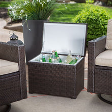 Outdoor Natural Elements Wicker Resin 3-Piece Patio Furniture Dining Set with Cooler Side Table