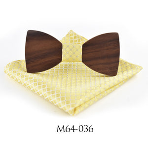 Natural Elements #1 Wooden Bow Tie With Hanky Set