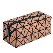 Cork Cosmetic Travel Make Up Bag Clutch With Zipper Closure
