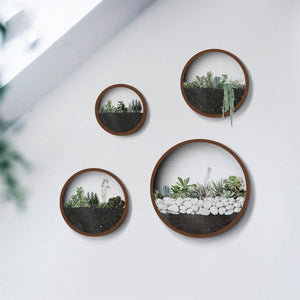 Creative Iron Modern Scenery Flower Pot Round Wall Vases