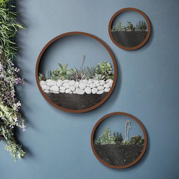 Creative Iron Modern Scenery Flower Pot Round Wall Vases Natural