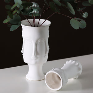 Natural Elements Contemporary Living White Ceramic Tabletop Face Vase