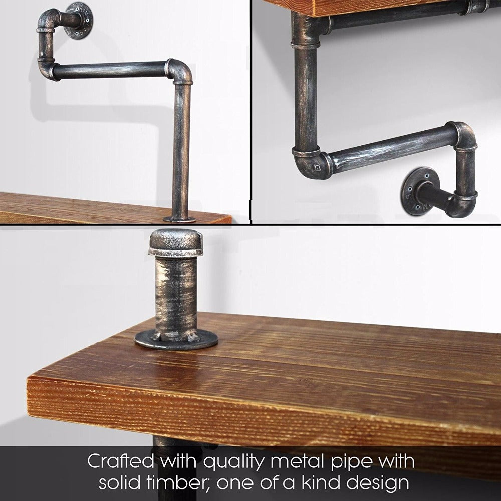 DIY Industrial Bathroom Storage Shelf/Towel Rack