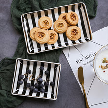 Natural Elements Nordic Black And Striped Marble Ceramic Trays