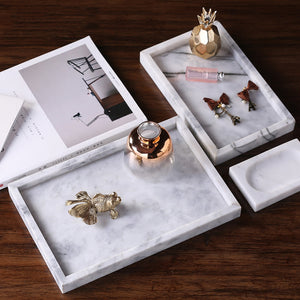 Natural White Marble Square Serving Tray